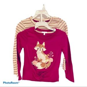 ♦️Girls 2 piece L/S tops size 5 Tahari with foxes